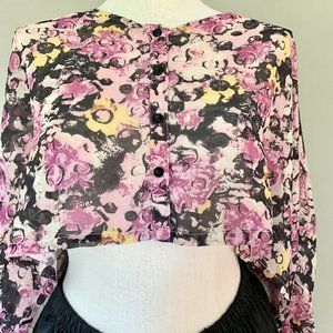 Millau Blouse Floral Pink Sheer Crop Top Small